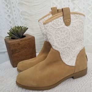 UGG Girls Tan/Brown Leather Boots Crochet Lace